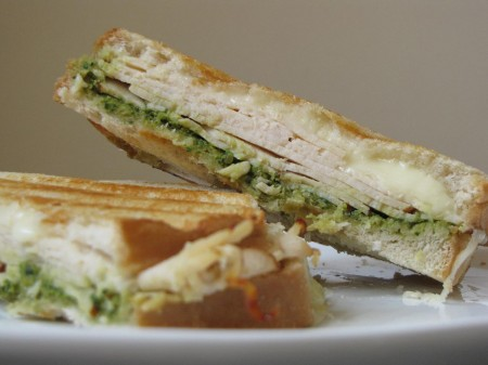Turkey, Smoked Mozzarella and Olive-Spinach Pesto Panini