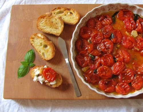 Goat Cheese Toasts with Roasted Tomatoes