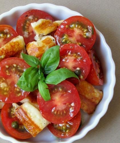 Halloumi Cheese and Tomato Salad in a Caper Vinaigrette