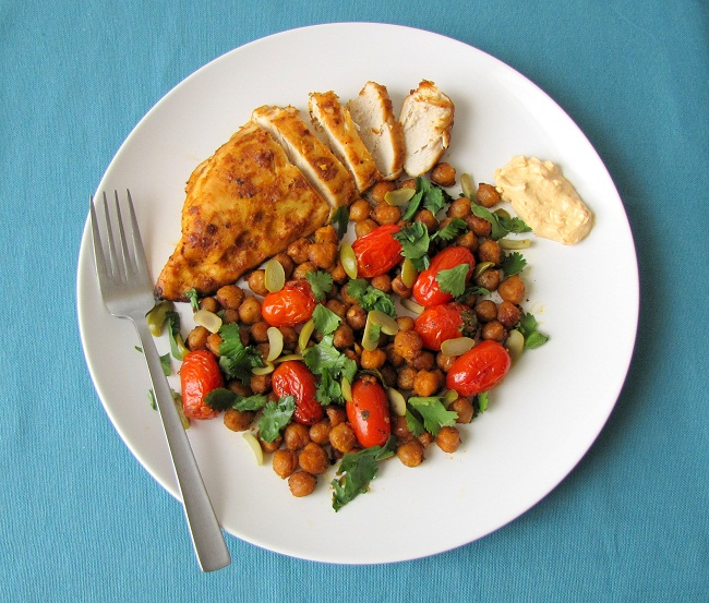 Roast Chicken Breasts with Chickpeas, Tomatoes and Smoked Paprika