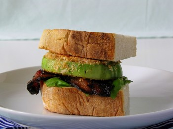 bacon basil fried green tomato sandwich