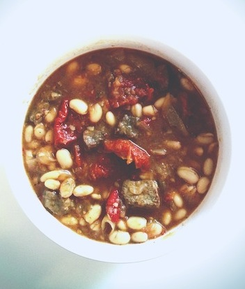 Braised beef with sun-dried tomatoes and white bean stew